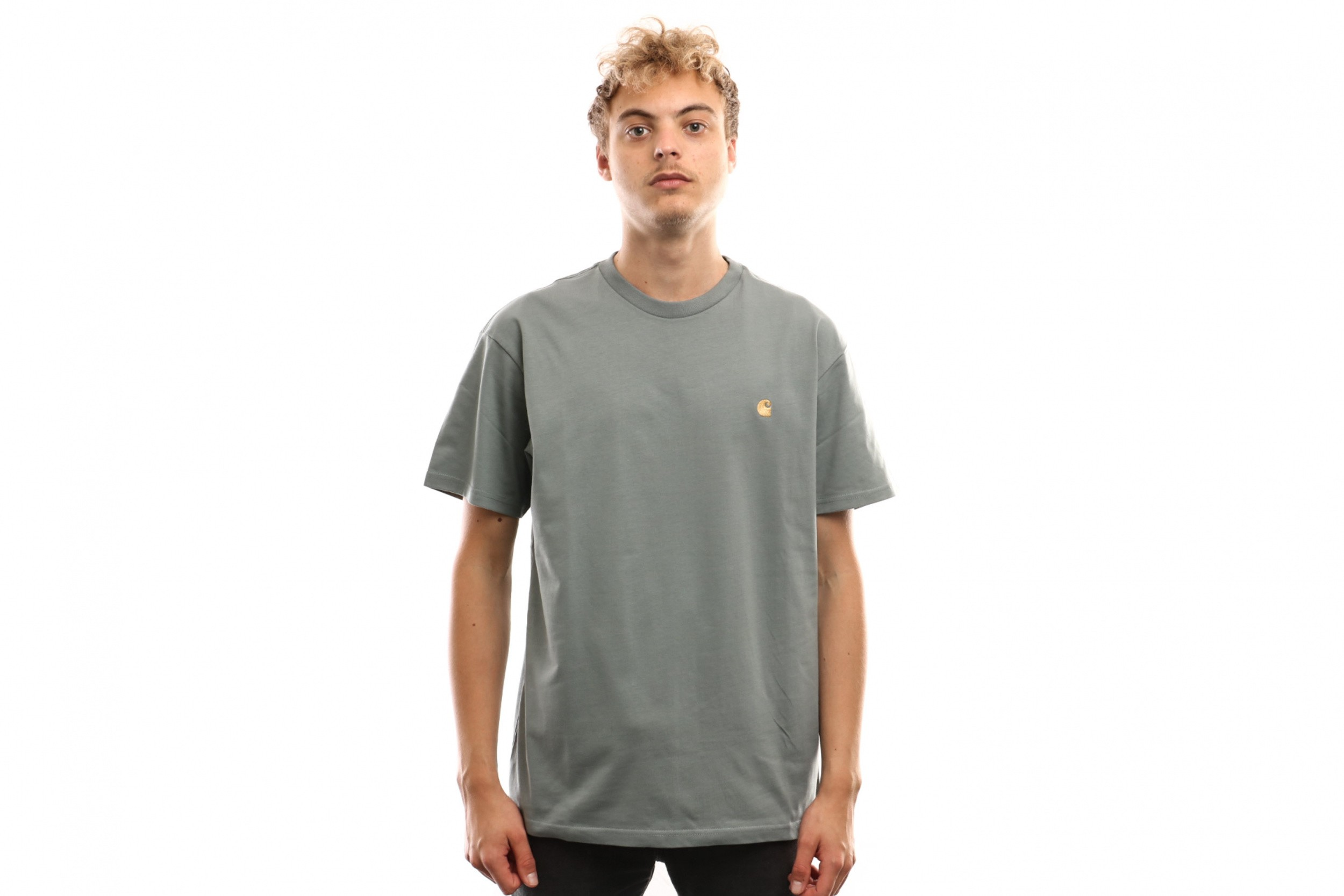 Foto van Carhartt Wip S/S Chase T-Shirt I026391 T Shirt Cloudy / Gold