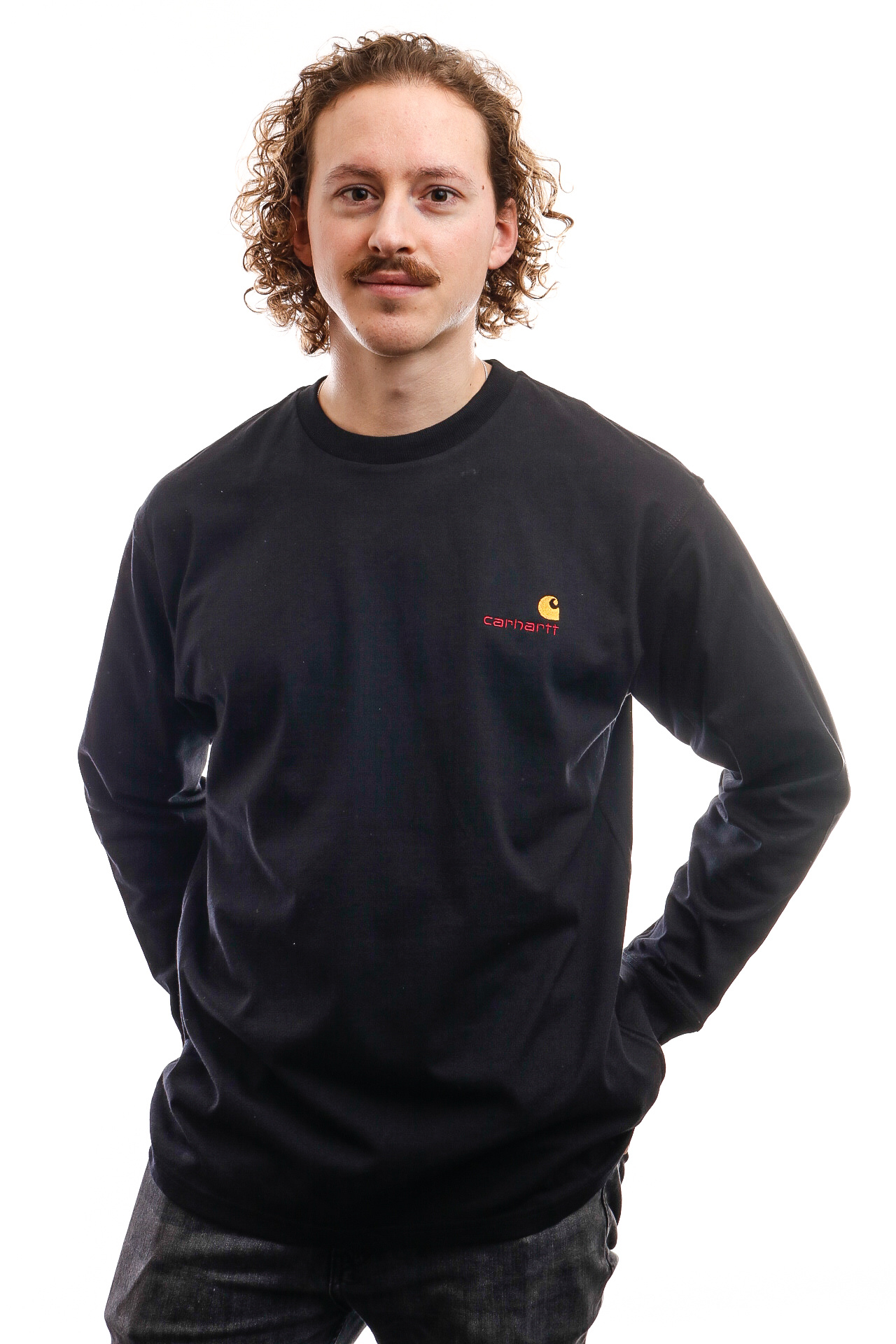 Foto van Carhartt Long Sleeve L/S American Script T-Shirt Black I025712