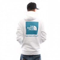 Afbeelding van The North Face M Raglan Red Box Hd T92ZWUAVG Hooded Tnf White/Crystal Teal