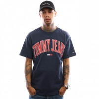 Afbeelding van Tommy Hilfiger TJM Collegiate Logo Tee DM0DM05569 T Shirt Black Iris