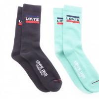 Afbeelding van Levi`s Bodywear REGULAR CUT SPRTSWR LOGO 2P LEVIS 120SF Sokken green / black