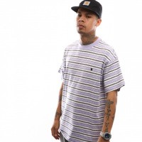 Afbeelding van Carhartt Wip S/S Huron T-Shirt I026371 T Shirt Huron Stripe, Soft Lavender / Black