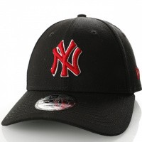 Afbeelding van New Era 9Forty Blksca New York Yankees 11841190 Dad Cap Black/Red White Outline Mlb