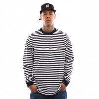 Afbeelding van Carhartt Wip L/S Barkley Pocket T-Shirt I026365 Longsleeve Barkley Stripe. Dark Navy / White