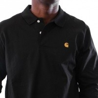 Afbeelding van Carhartt WIP L/S Chase Polo I025502 Polo shirt Black / Gold
