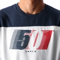Afbeelding van Levi`s LS Pieced Graphic Tee 56847-0000 Longsleeve White / Dress Blues