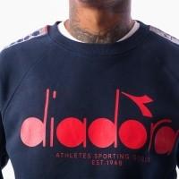 Afbeelding van Diadora sweatshirt crew 5palle offside 502174029 Crewneck blue denim/optical wht/tomato