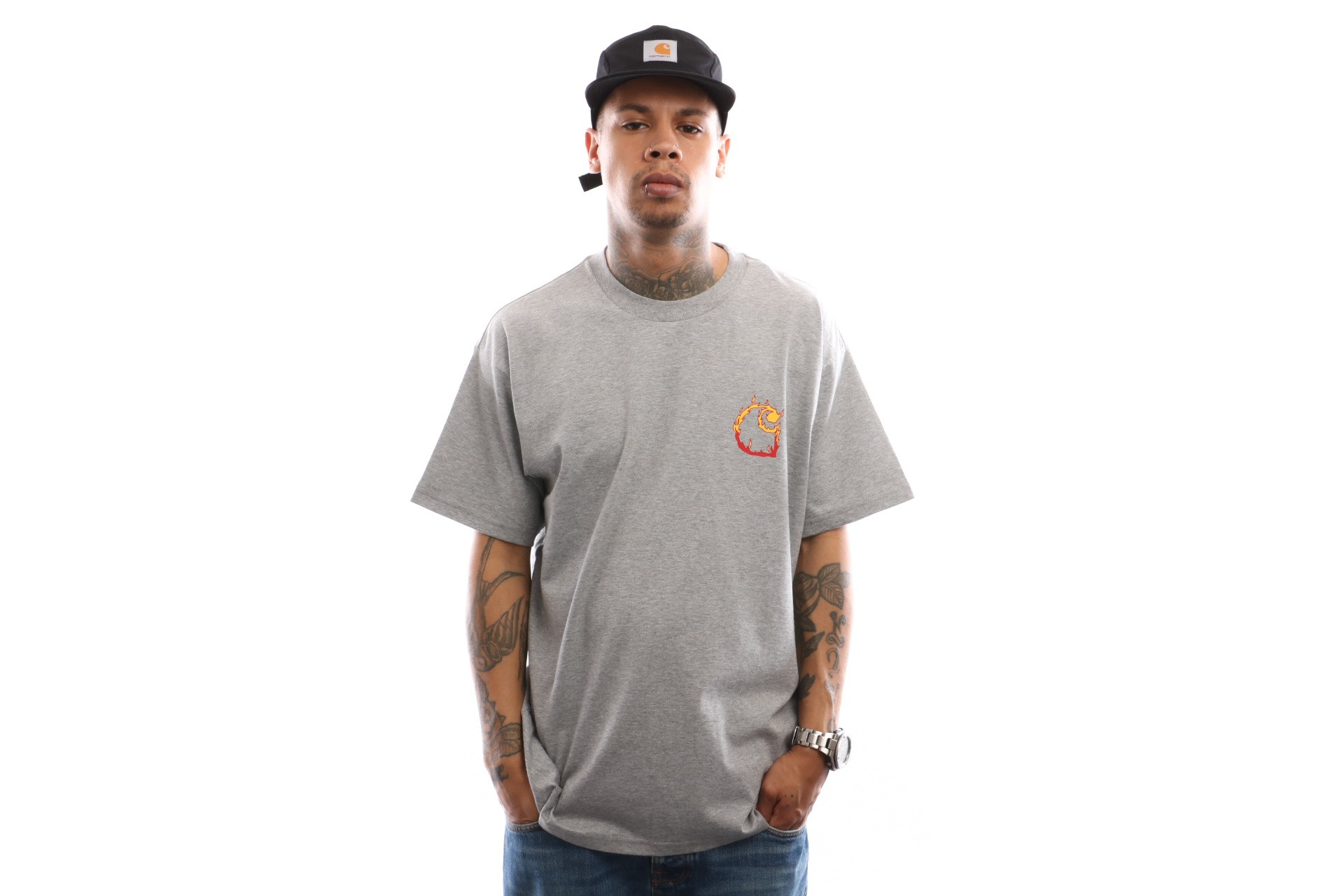 Foto van Carhartt WIP S/S Burning C T-Shirt I025760 T shirt Grey Heather