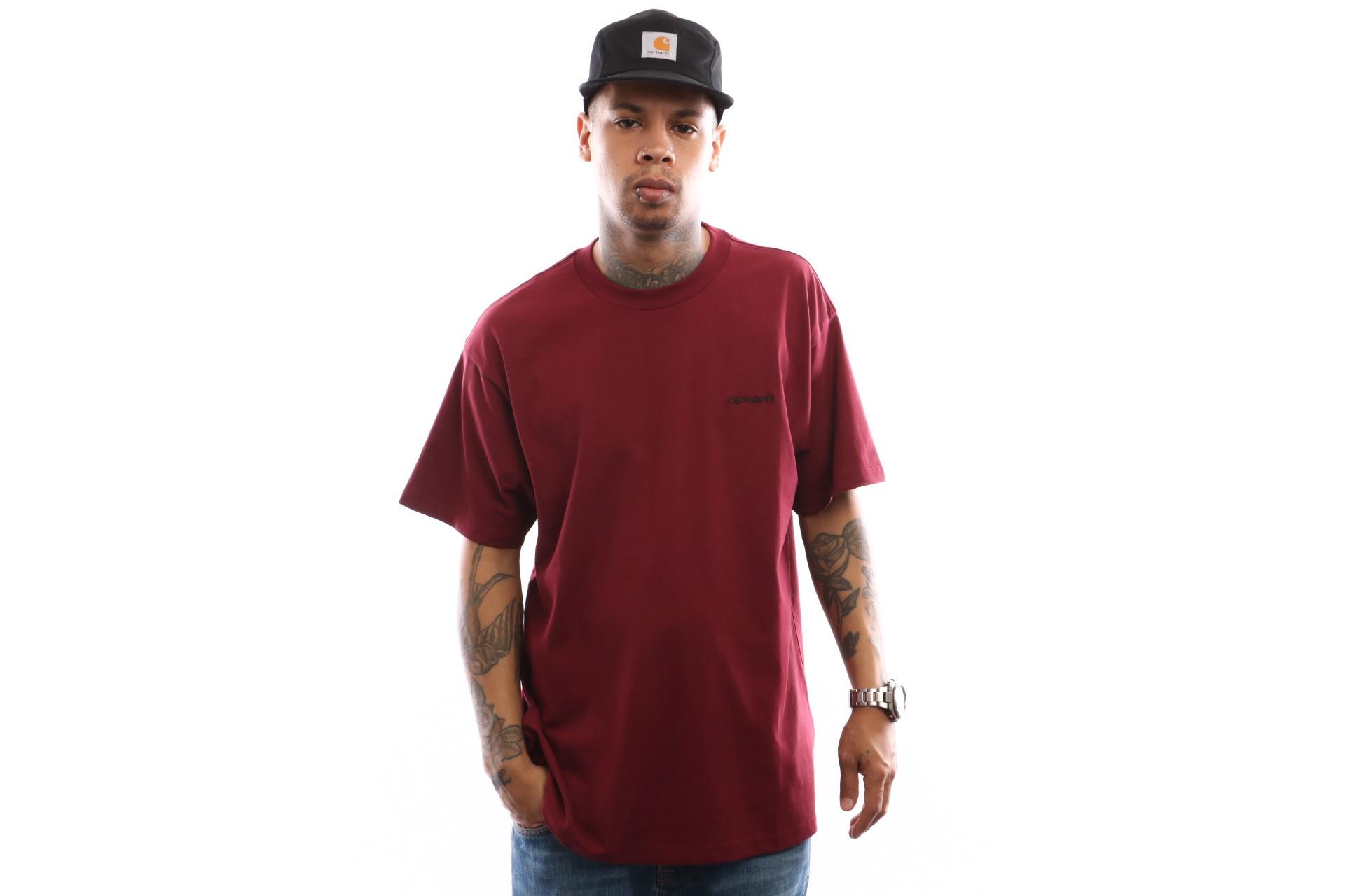 Foto van Carhartt WIP S/S Script Embroidery T-Shirt I025778 T shirt Mulberry / Black