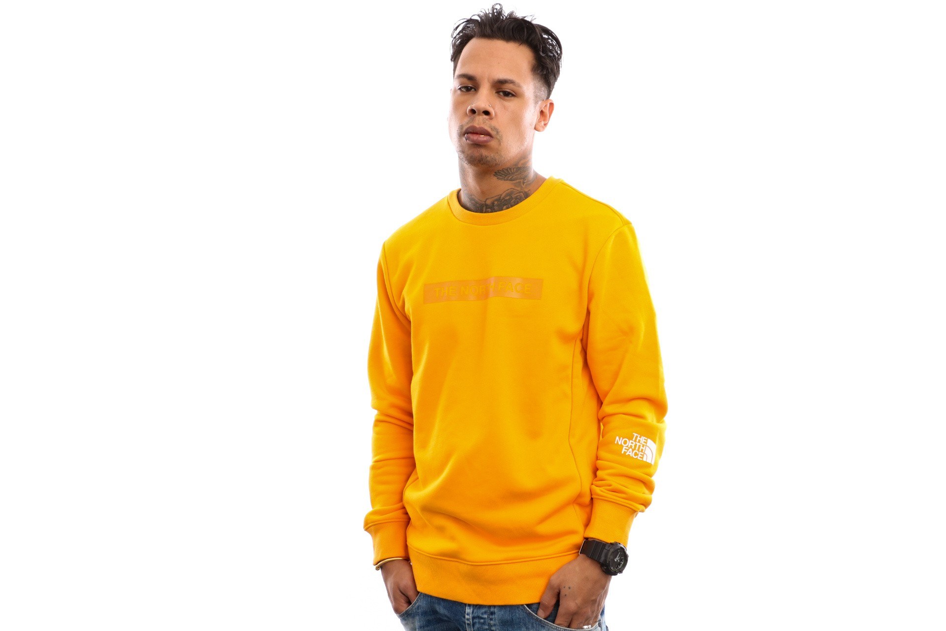 Foto van The North Face M Lht Crew T93Ryd Crewneck Zinnia Orange