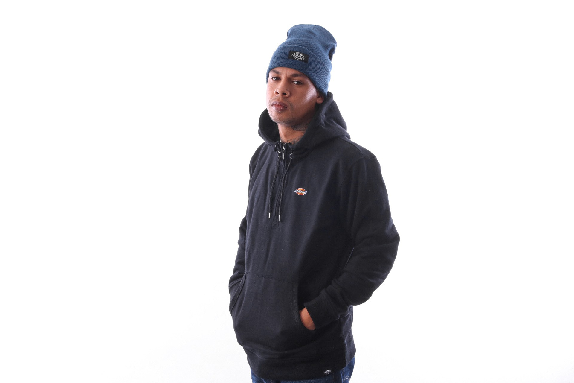 Foto van Dickies Exmore 03 200163 Hooded 1/4 zip Black