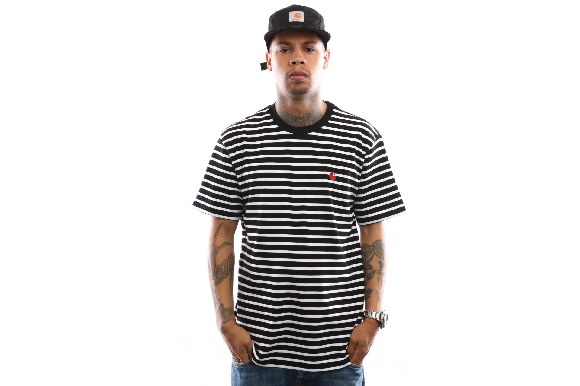 Foto van Carhartt WIP S/S Robie T-Shirt I022004 T shirt Robie Stripe, Black / White / Blast Red