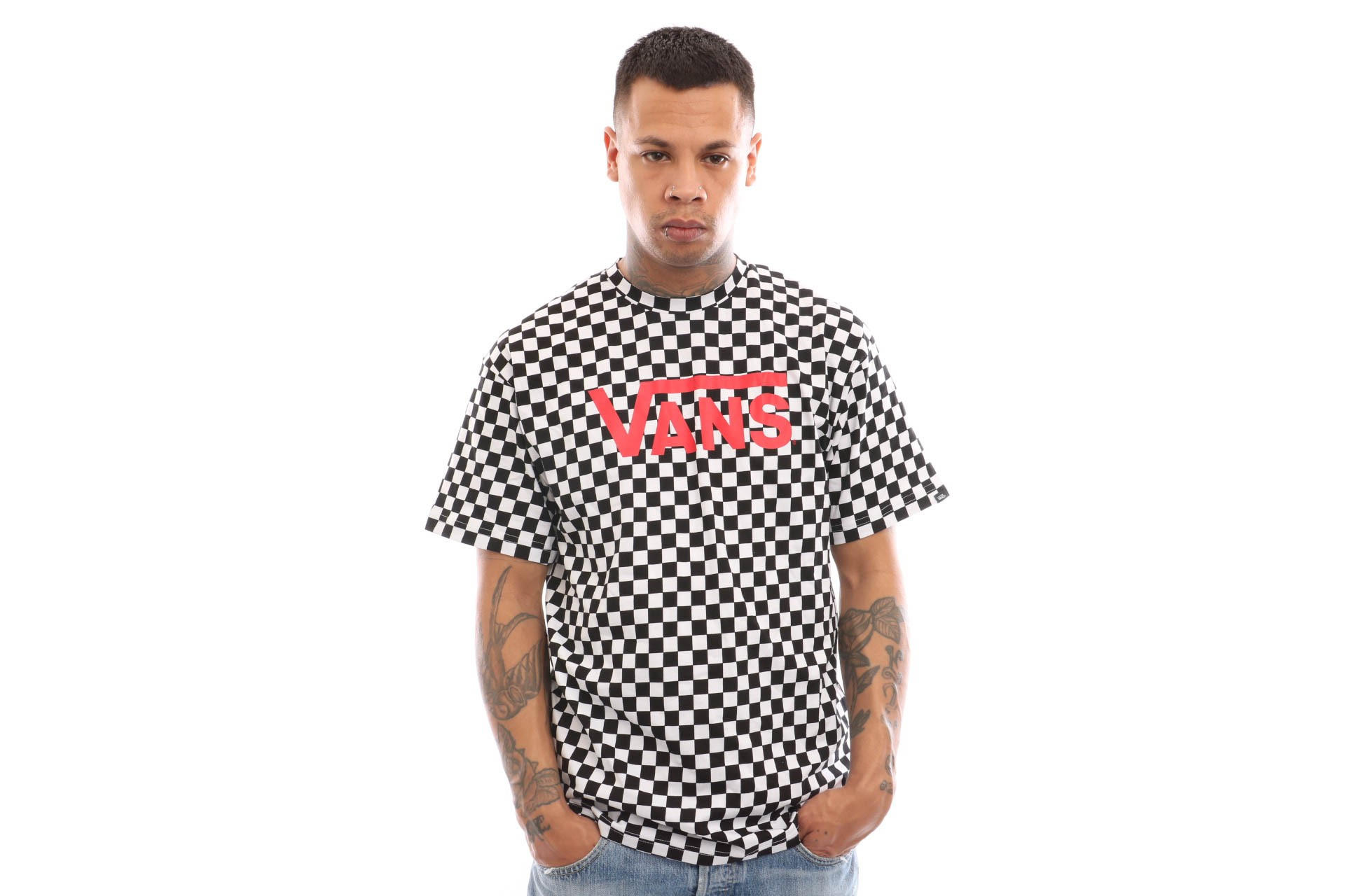 Foto van Vans Vans Classic Vn000Gggm74 T Shirt Black White Checkerboard