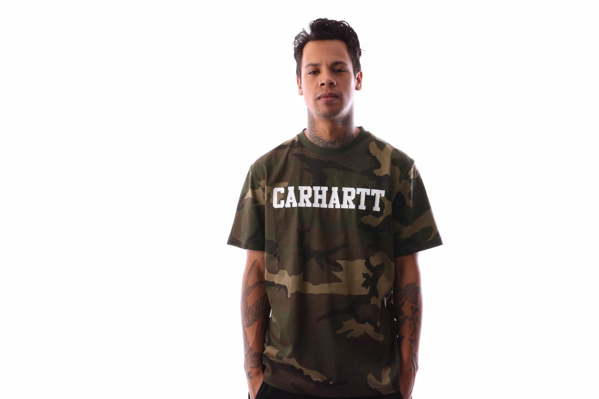 Foto van Carhartt WIP S/S College T-Shirt I024772 T-shirt Camo Laurel / White