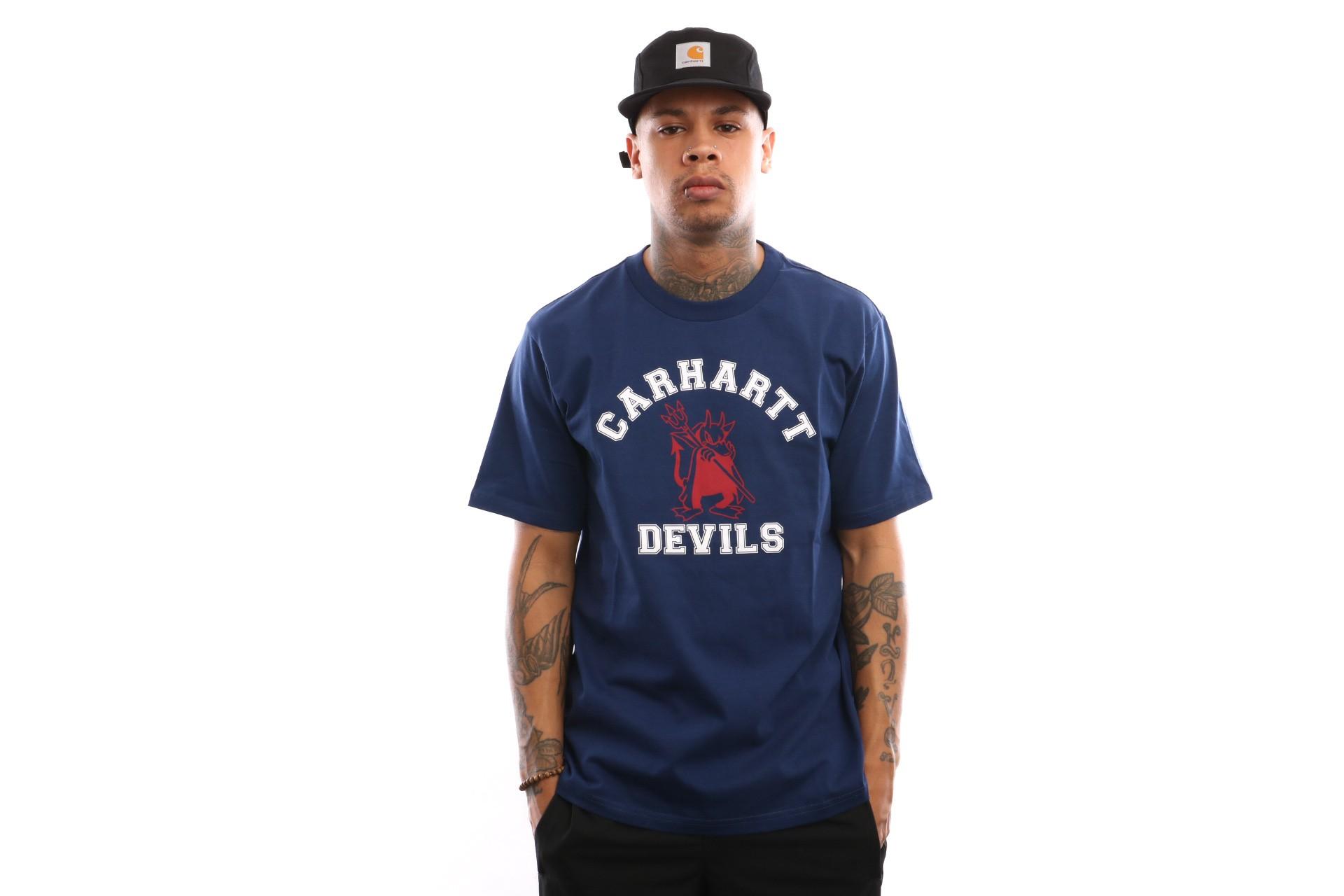 Foto van Carhartt WIP S/S Carhartt Devils T-Shirt I026435 T shirt Metro Blue
