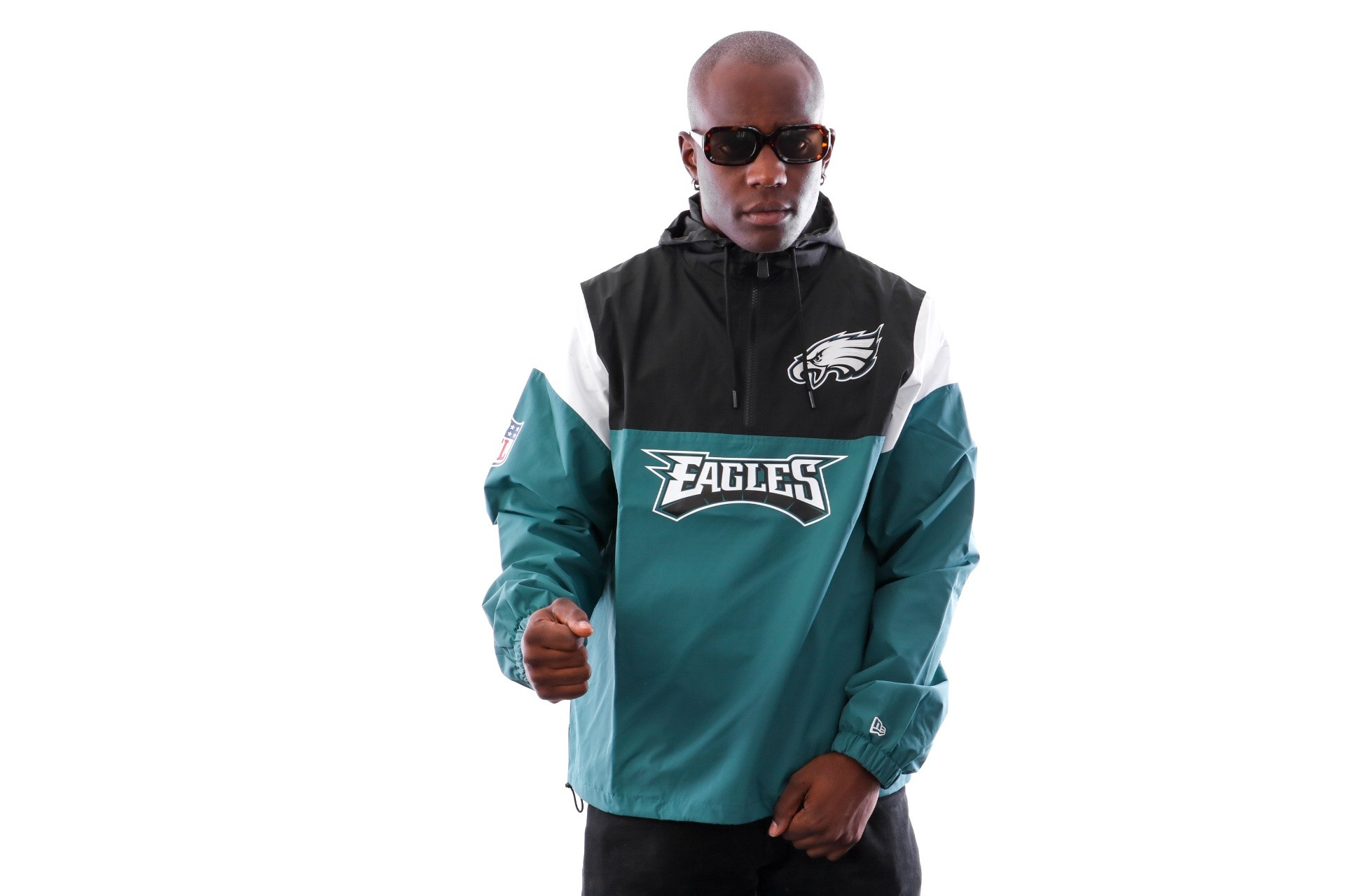 Foto van New Era COLOUR BLOCK WINDBREAKER PHIEAG PNG 11841055 jas PINE NEEDLE GREEN PHILADELPHIA EAGLES