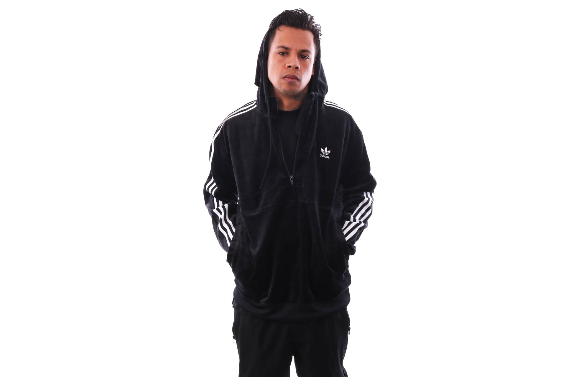 Foto van Adidas 3-Stripes Fz Dv1551 Hooded Zip Black