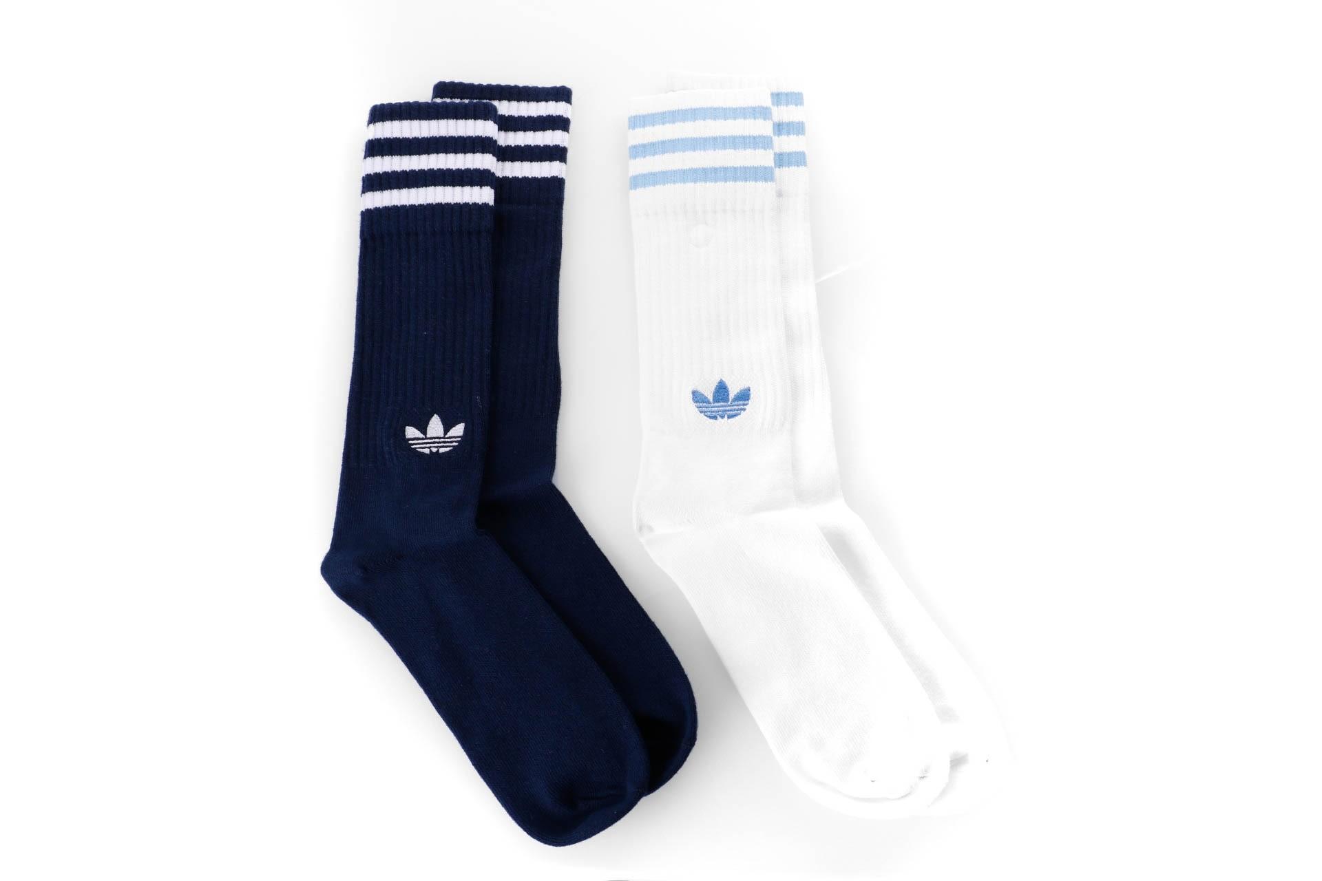 Foto van Adidas Solid Crew Socks 2Pp - Color Pack Dh3363 Sokken Collegiate Navy/White/White/Clear Blue