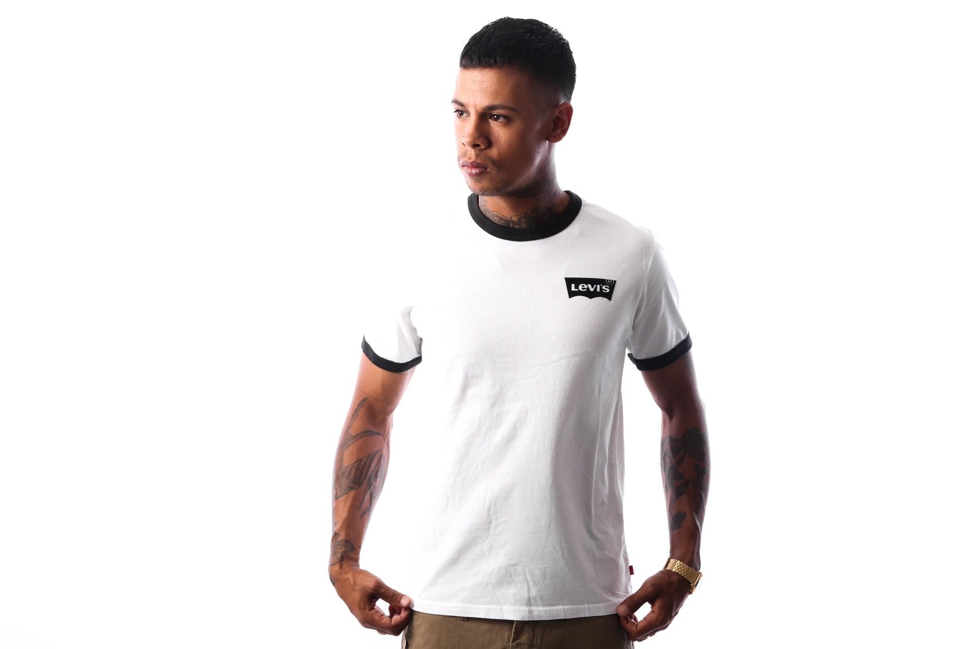 Afbeelding van Levi`s SS RINGER TEE HOUSEMARK 39969-0009 T-Shirt Hm Ringer White/Black