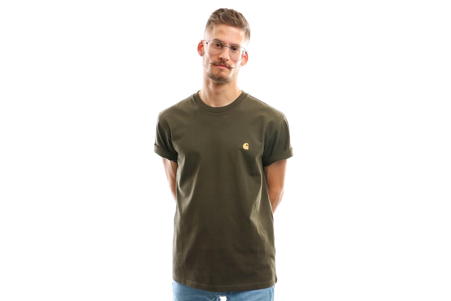 Foto van Carhartt Wip S/S Chase T-Shirt I026391 T Shirt Cypress / Gold