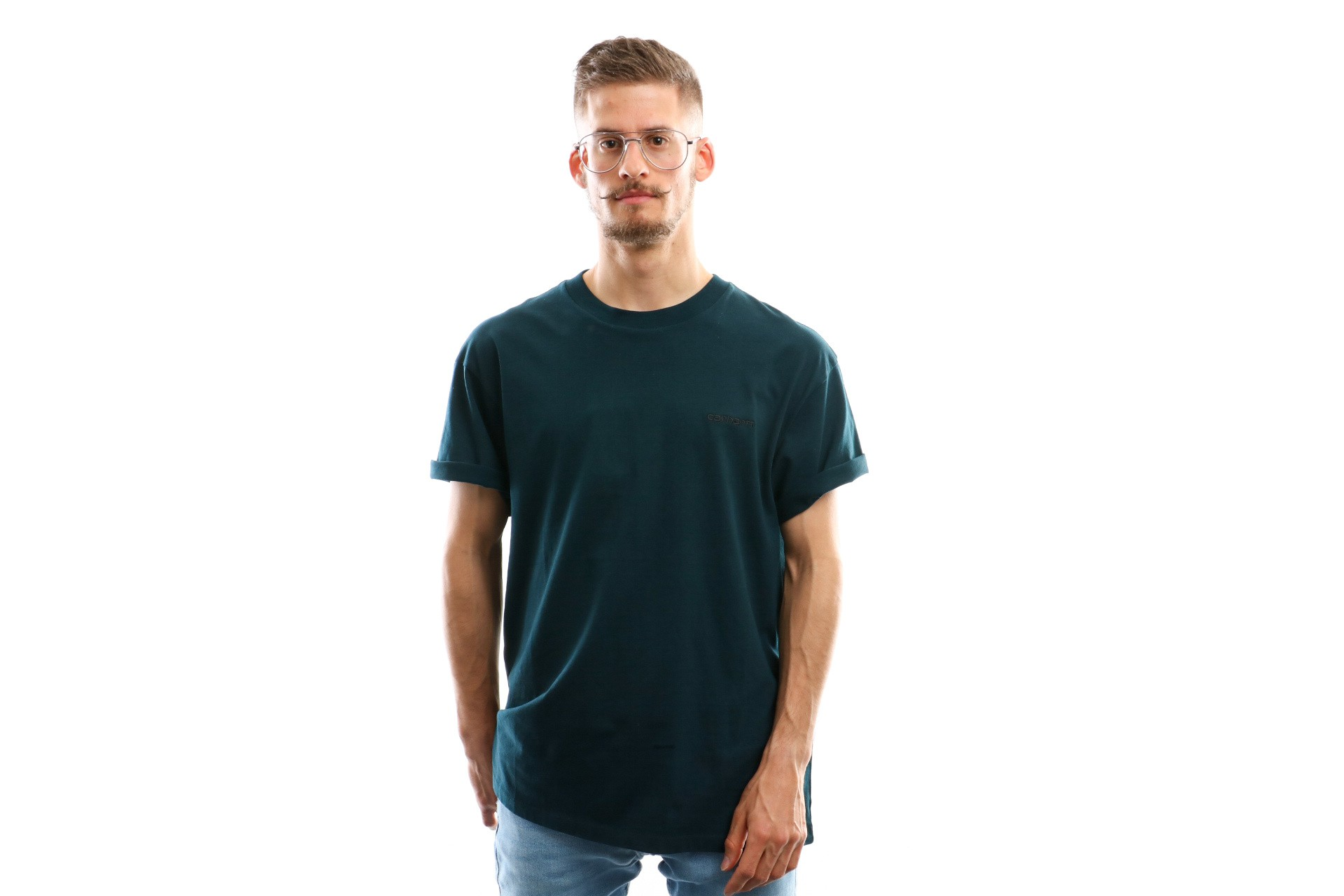 Foto van Carhartt Wip S/S Script Embroidery T-Shirt I025778 T Shirt Duck Blue / Black