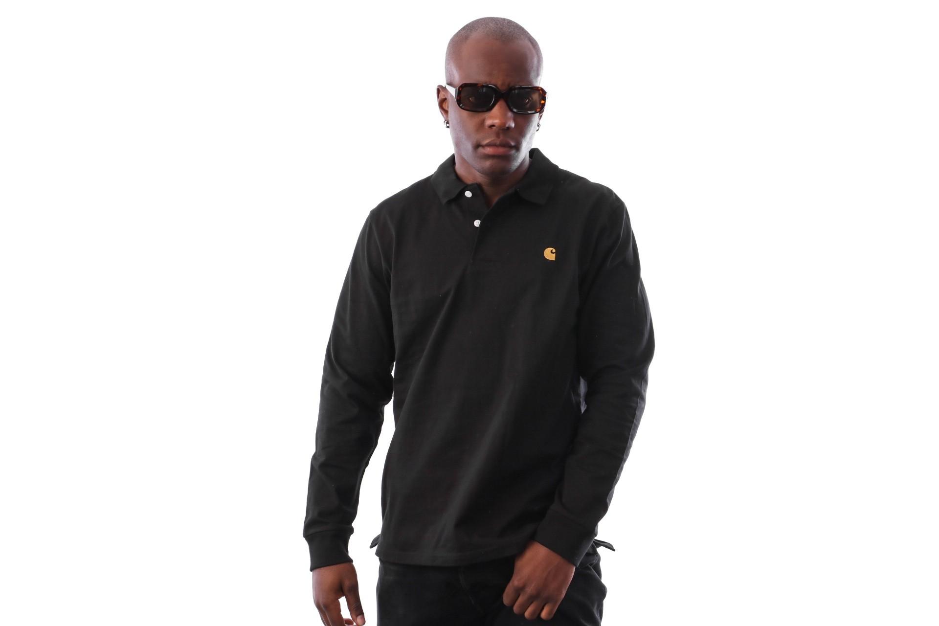Foto van Carhartt WIP L/S Chase Polo I025502 Polo shirt Black / Gold