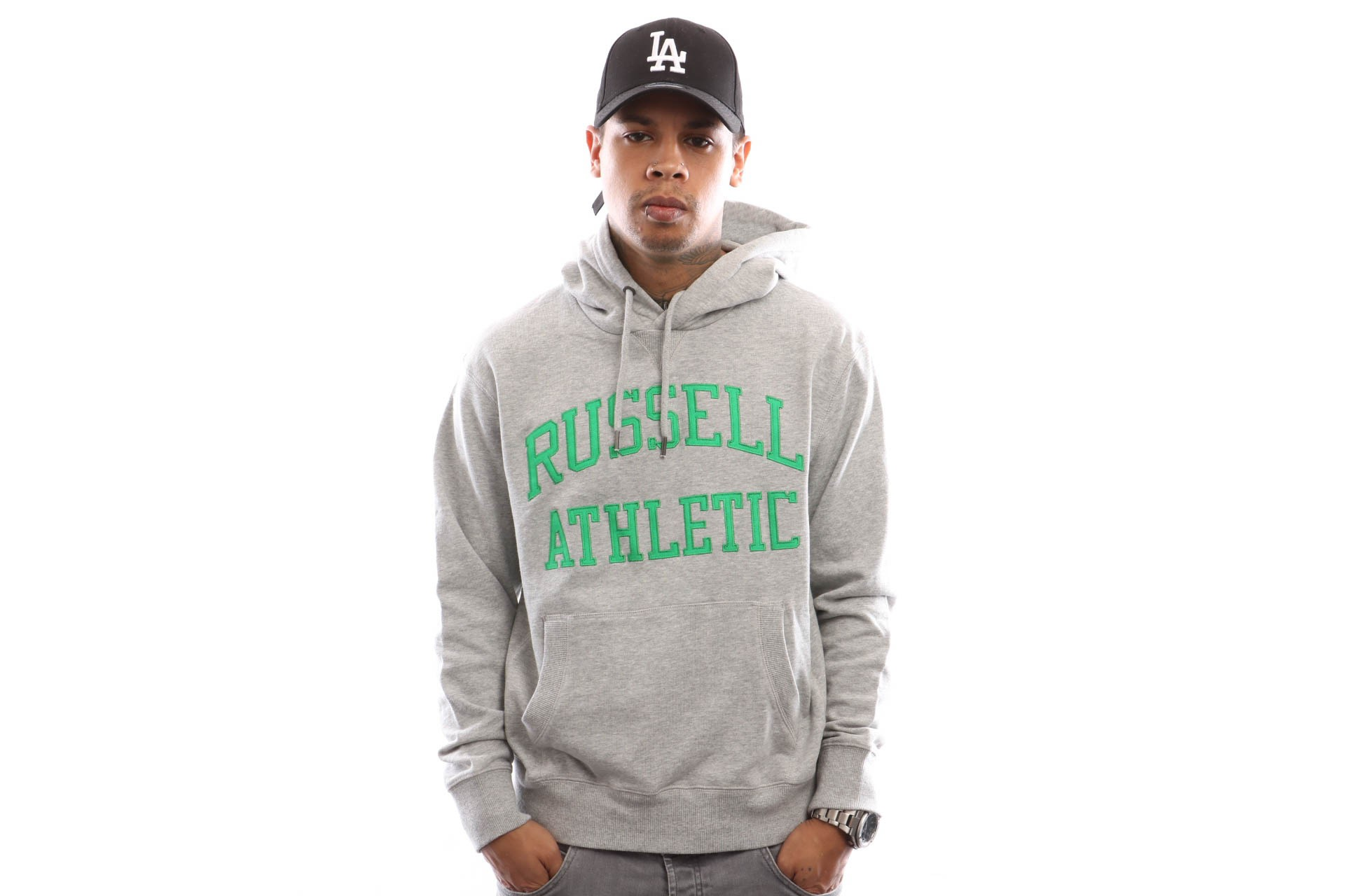 Foto van Russell Athletic Iconic Tackle Twill Pull Over A9-004-1 Hooded New Grey Marl