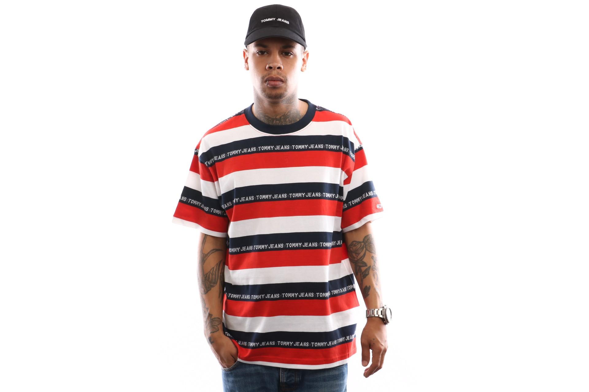 Foto van Tommy Hilfiger Tjm Branded Stripe Tee Dm0Dm06077 T Shirt Flame Scarlet / Multi