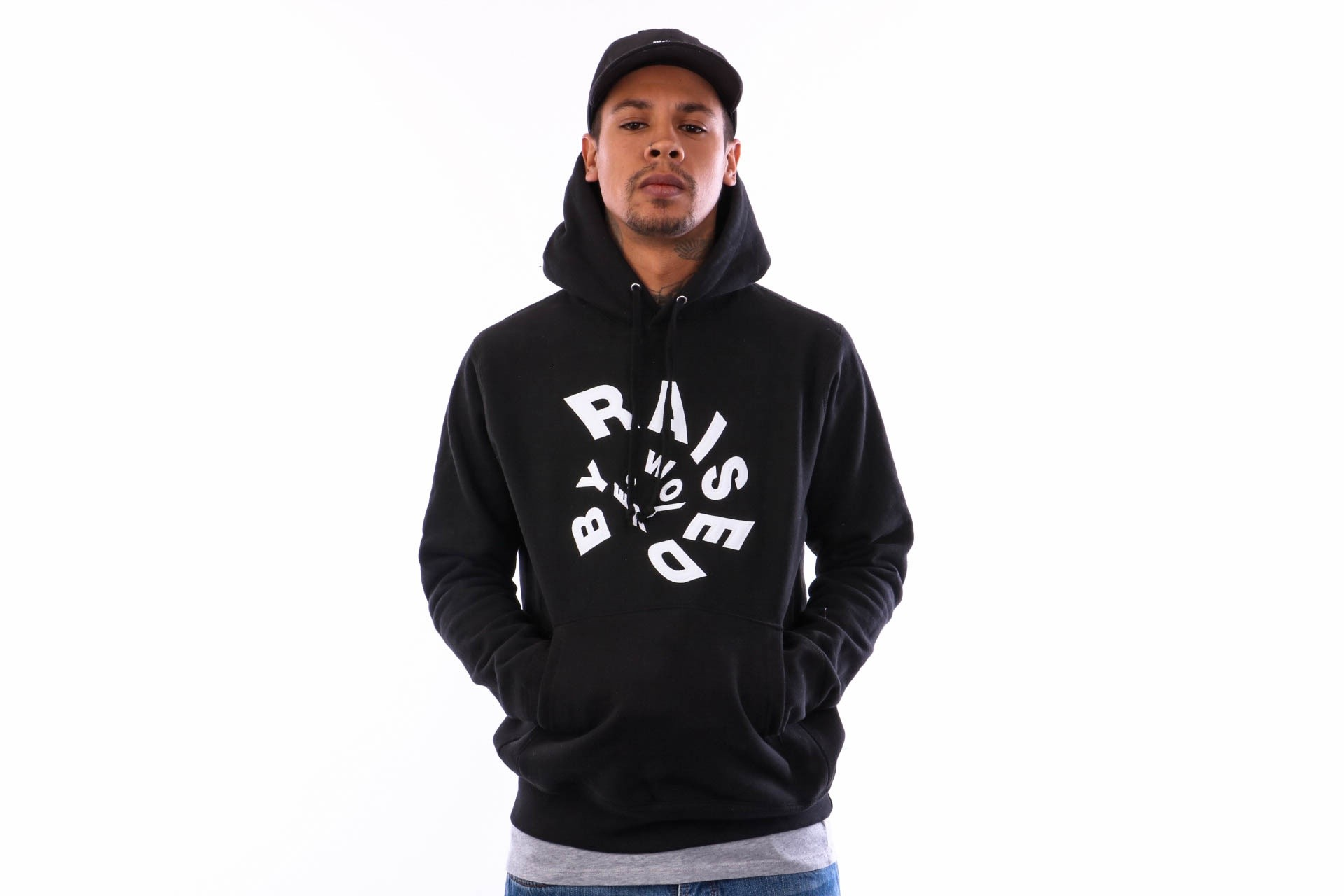 Afbeelding van Raised by Wolves Twister Hooded Sweatshirt RBWFW18403 Hooded Black Fleece