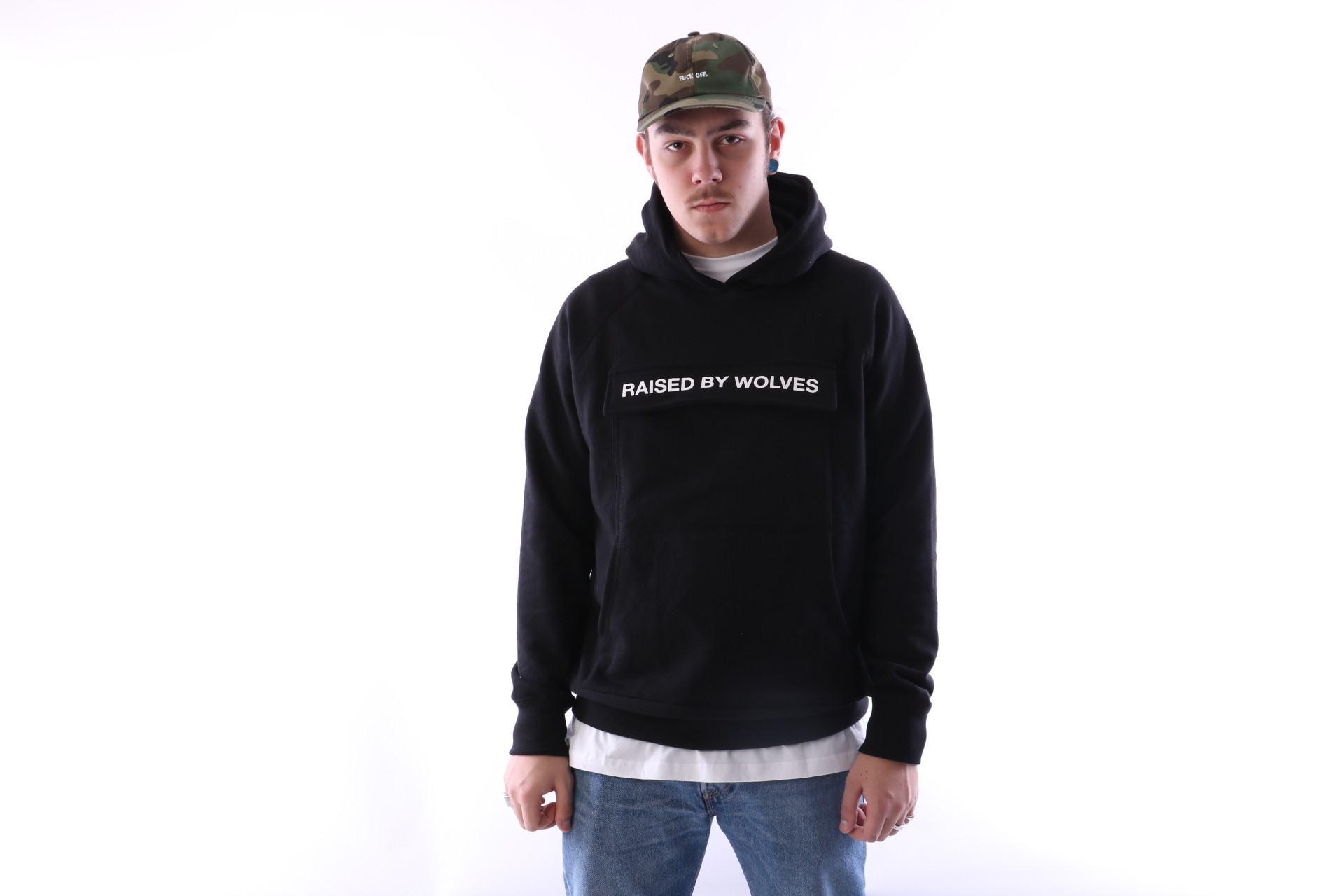Foto van raised by wolves cargo hooded sweatshirt Black French Terry