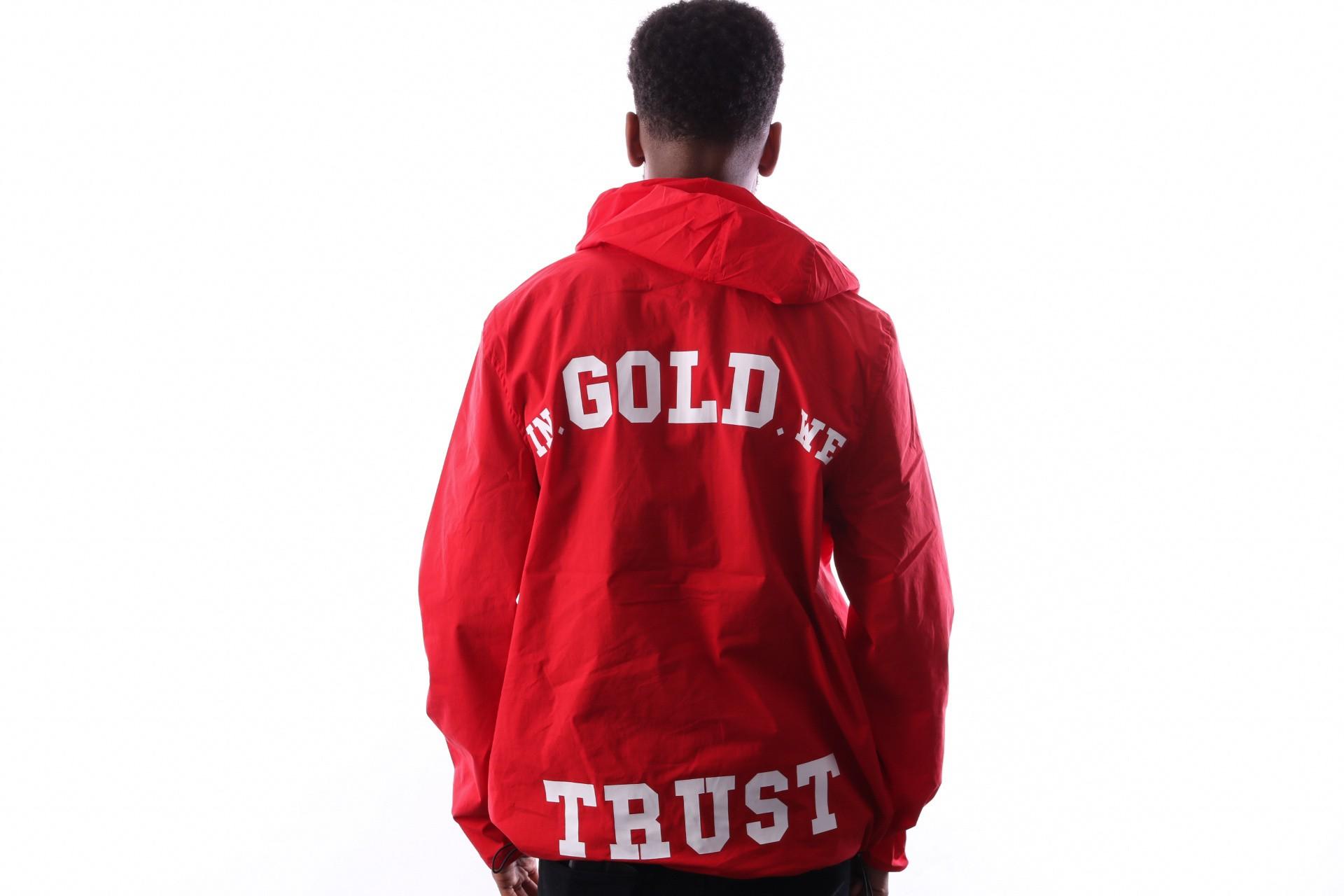 Afbeelding van In Gold We Trust Logo Pullover Faj-028 Jas Red