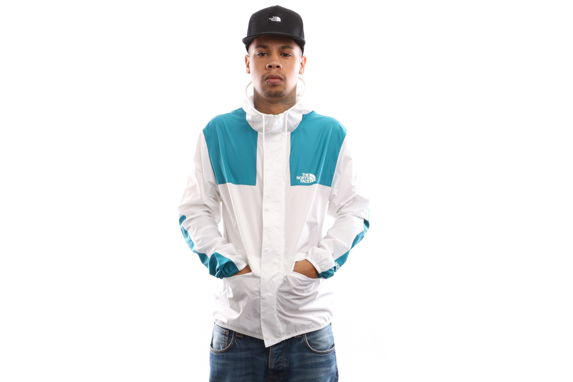 Afbeelding van The North Face M 1985 Mountain Jkt T0Ch37Avg Jas Tnf White/Crystal Teal