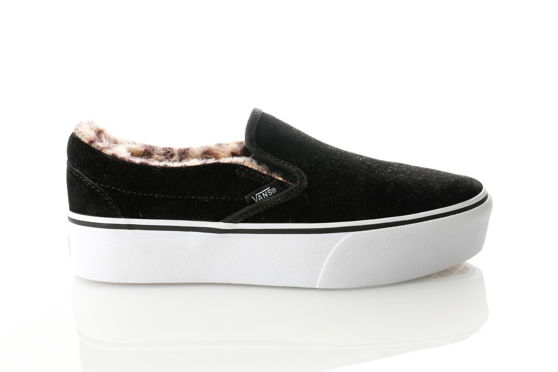 Foto van Vans UA Classic Slip-On Platform VA3JEZUM6 Sneakers (Suede/Fur) black/leopard