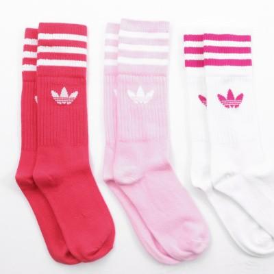 Afbeelding van Adidas SOLID CREW SOCKS 2PP - COLOR PACK DY0383 sokken true pink/white