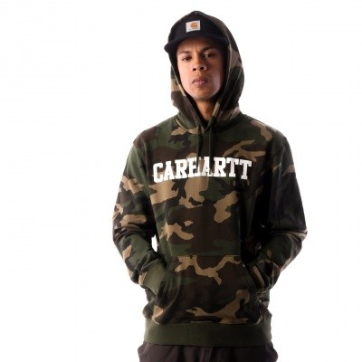 Carhartt WIP Hooded College Sweatshirt I024669 Hooded Camo Laurel / White