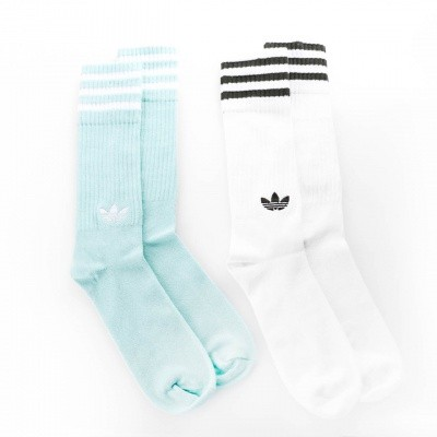 Afbeelding van Adidas SOLID CREW SOCKS 2PP - COLOR PACK DH3362 sokken CLEAR MINT F18/WHITE/WHITE/NIGHT CARGO F15