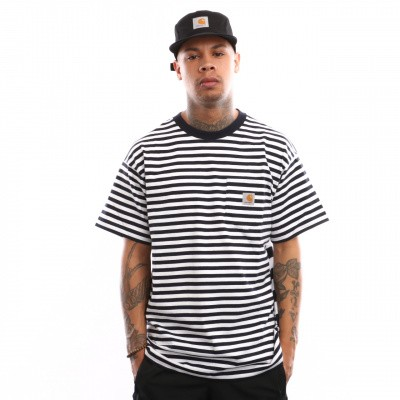 Afbeelding van Carhartt WIP S/S Barkley Pocket T-Shirt I026364 T shirt Barkley Stripe. Dark Navy / White