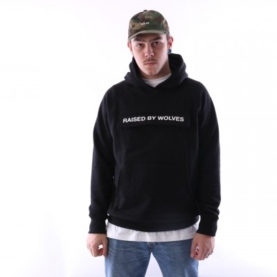 raised by wolves cargo hooded sweatshirt Black French Terry
