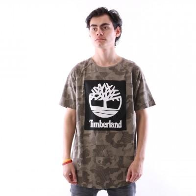 Timberland CA1MBM-M82 T-shirt Tee with camo logo linear tree Groen