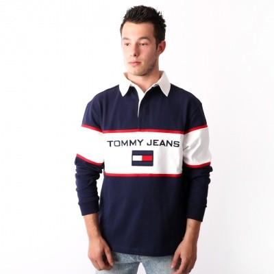 Tommy Jeans 90s Blocked Rugby Longsleeve Peacoat DM0DM05237-409