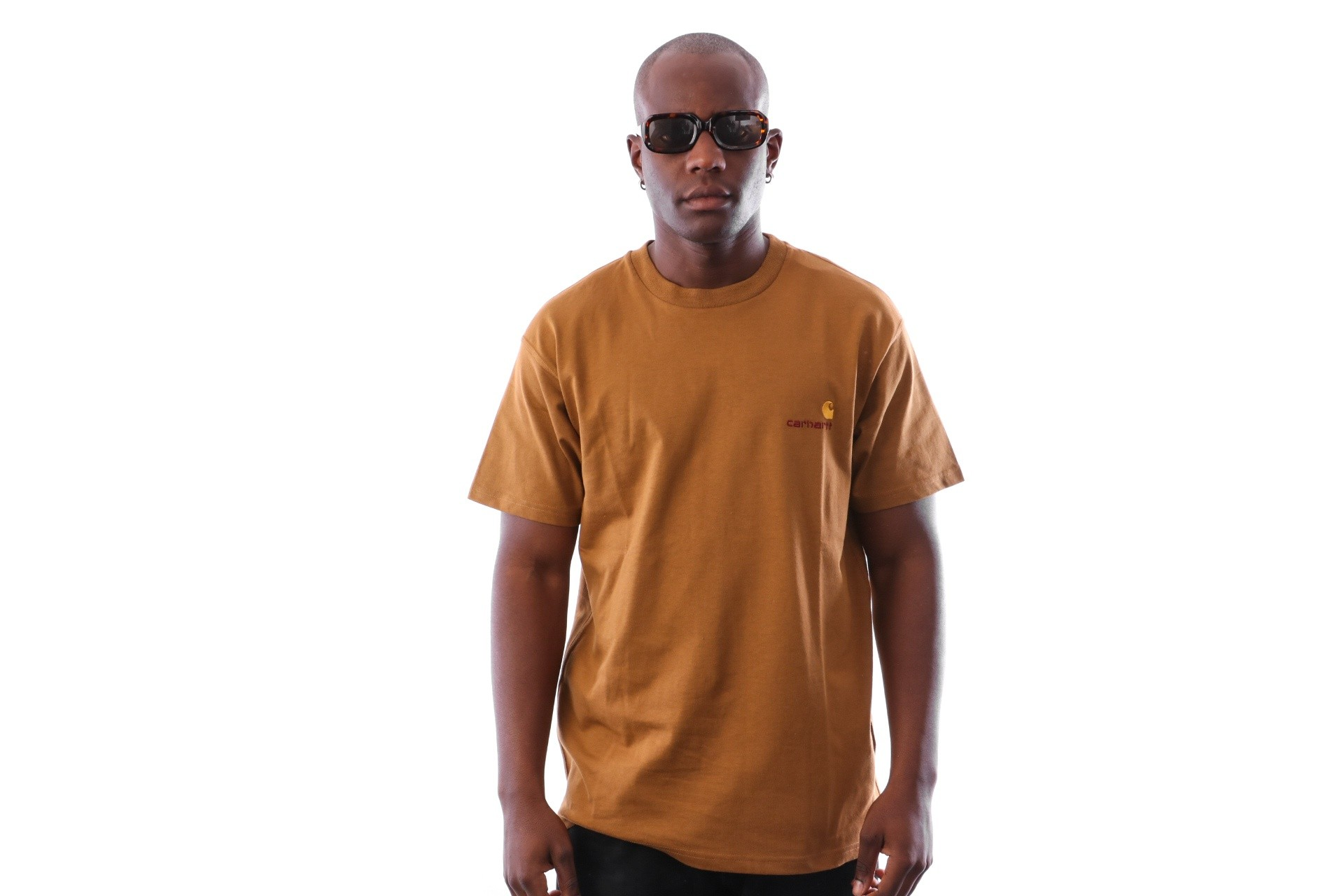 Foto van Carhartt WIP S/S American Script T-Shirt I025711 T-Shirts Hamilton Brown