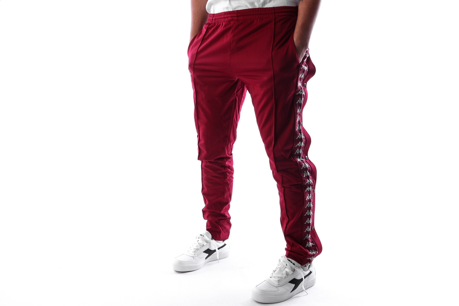 Foto van Kappa Banda Astoria Snaps Slim 303KUE0 Trainingsbroek Red Bordeaux-Grey