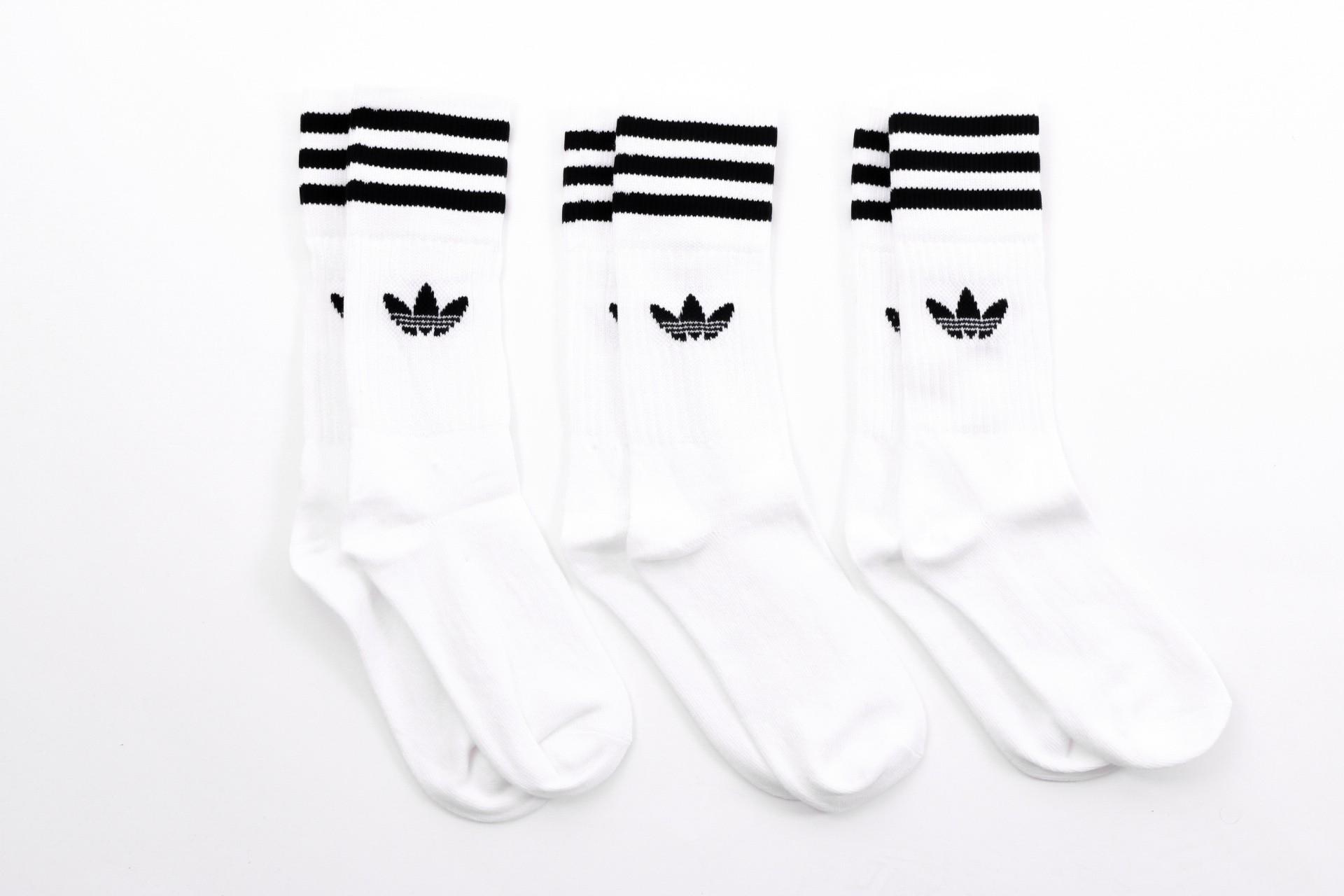 Foto van Adidas Originals S21489 Socks Solid crew Wit 3 pack