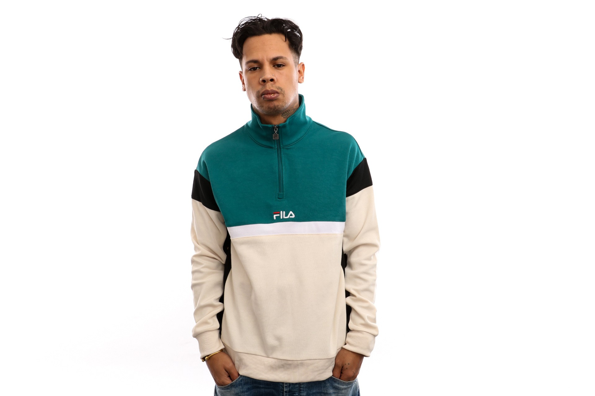 Foto van Fila Herron Half Zip Shirt 682356 Crewneck 1/2 Zip Shaded Spruce-Black-Whitecap Gray