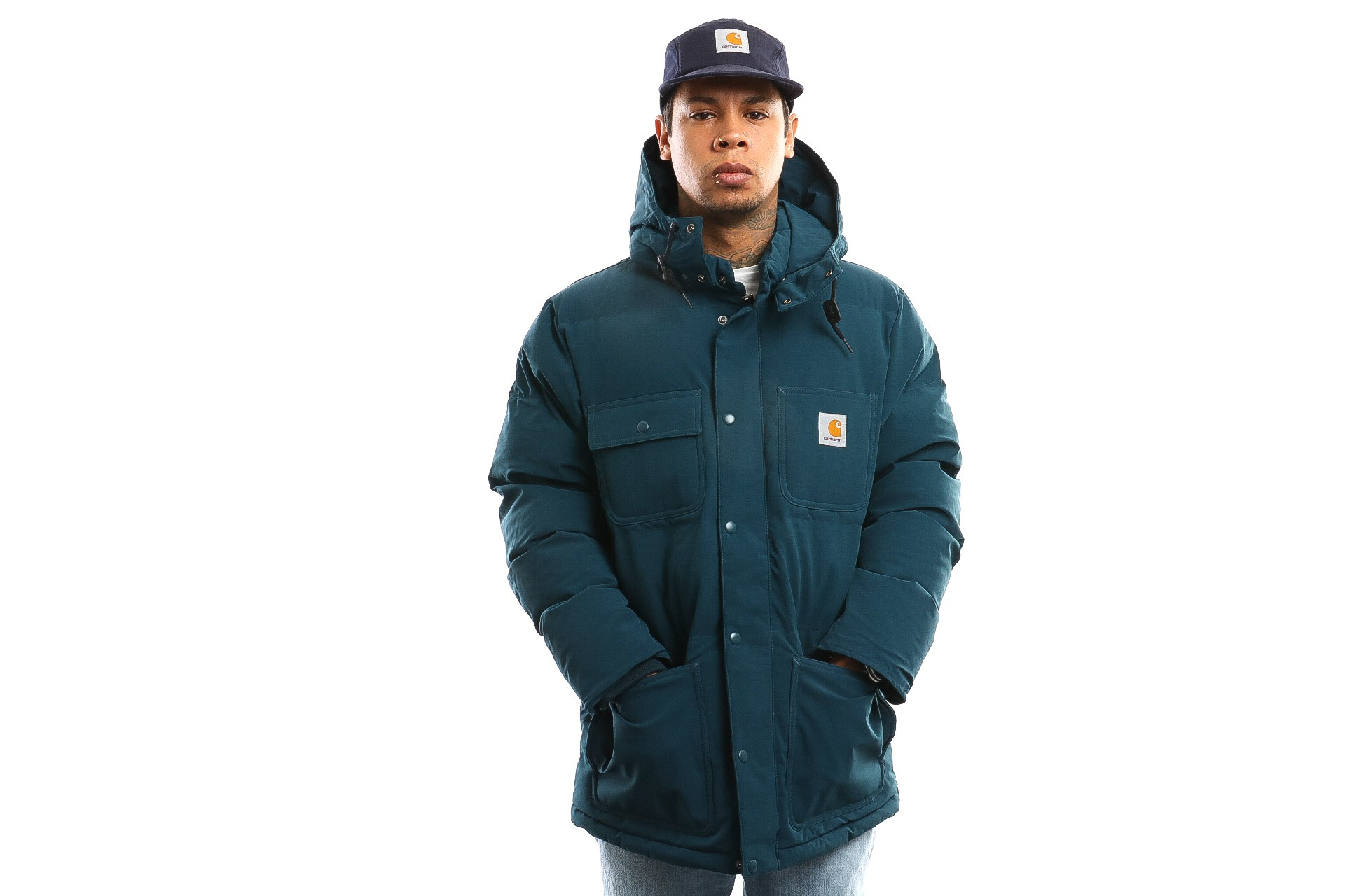 Foto van Carhartt Wip Alpine Coat I023081 Jacket Duck Blue / Black