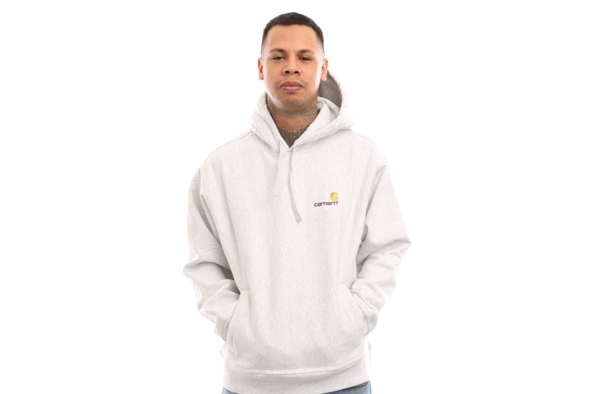 Foto van Carhartt WIP Hooded American Script Sweat I026337 Hooded Ash Heather