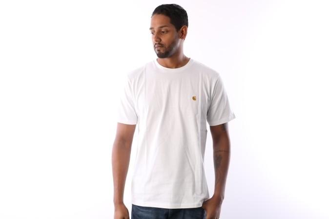 Foto van Carhartt WIP I021949-0290 T-shirt Chase White/gold