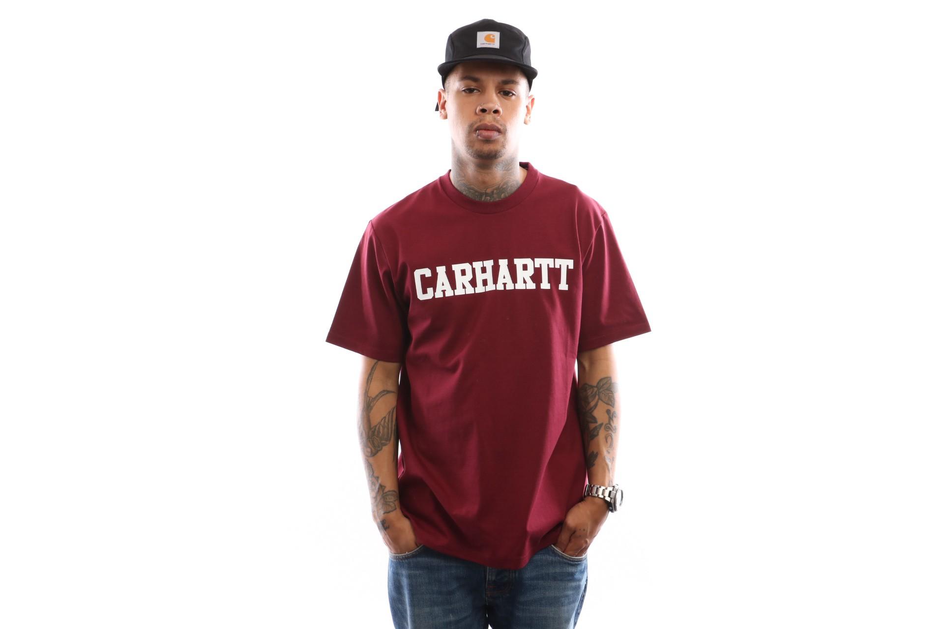 Foto van Carhartt WIP S/S College T-Shirt I024772 T shirt Mulberry / White