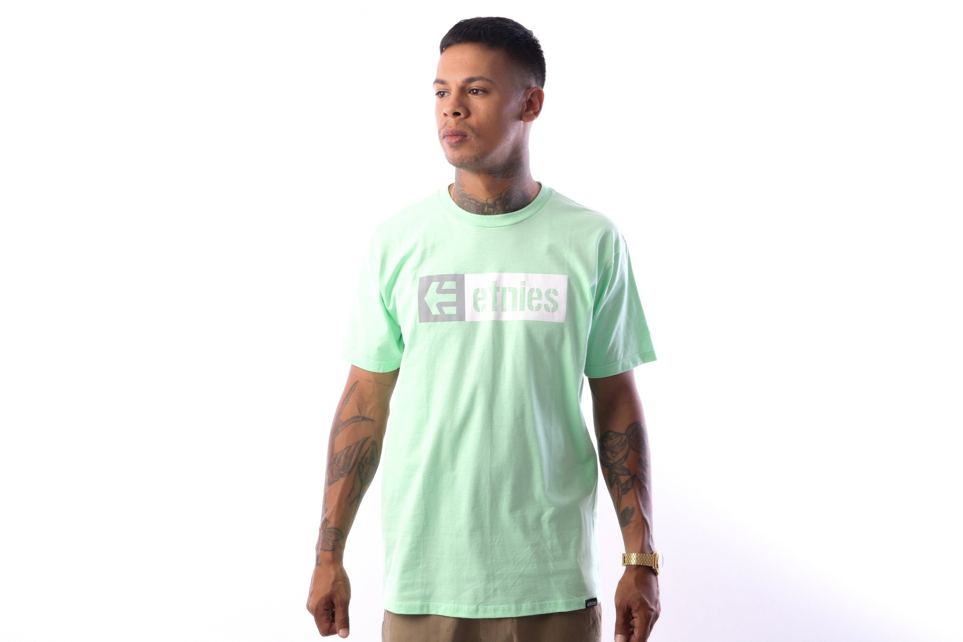 Foto van Etnies NEW BOX S/S TEE 4130002282 T shirt GREEN 15