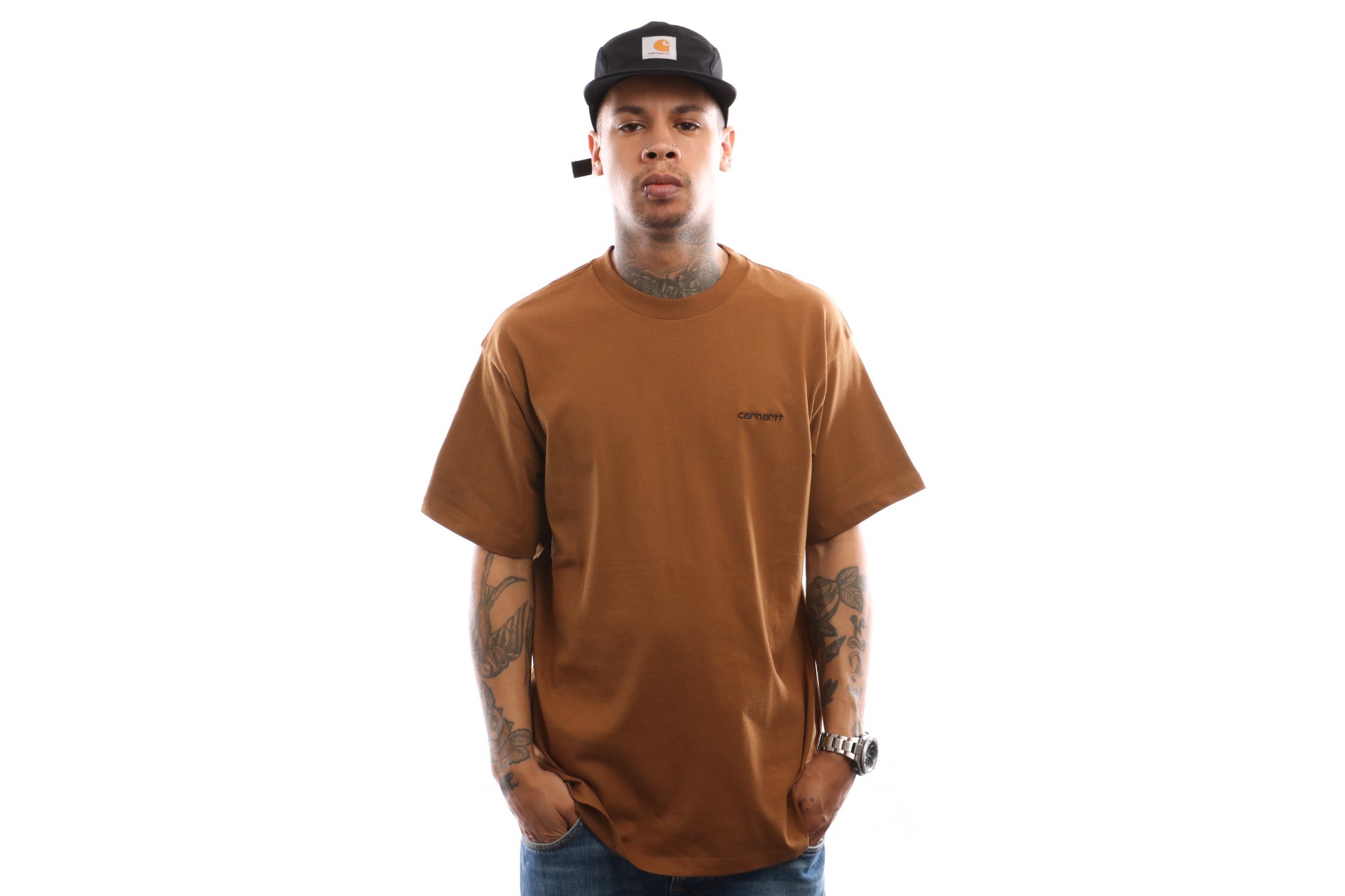 Foto van Carhartt WIP S/S Script Embroidery T-Shirt I025778 T shirt Hamilton Brown / Black